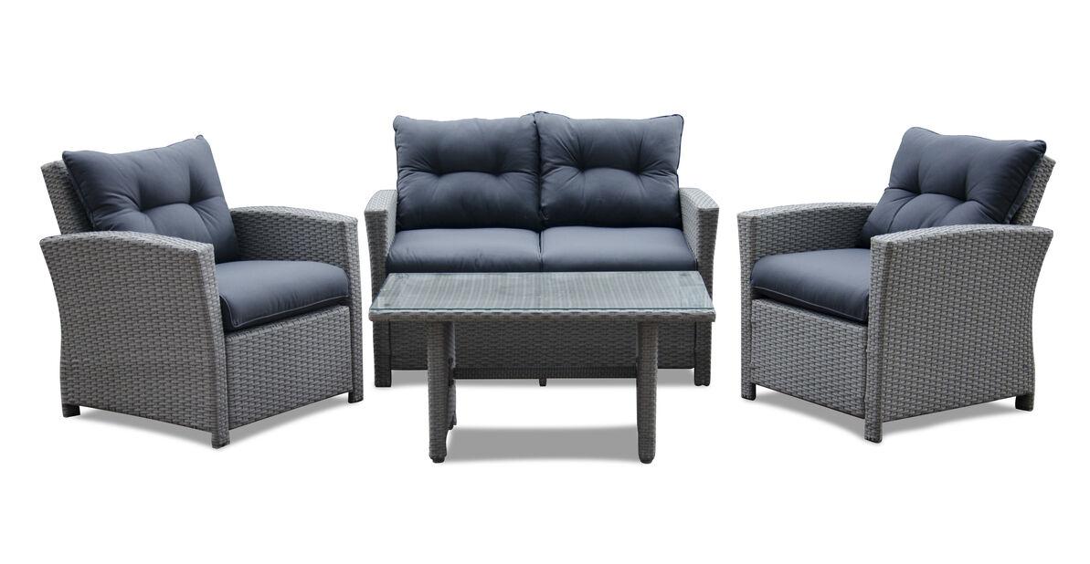 Sofagruppe Lyon 1+1+2, 4 sitteplatser, Grå