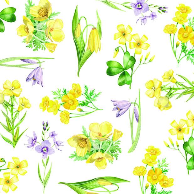Påskeservietter blomster, Bredde 33 cm, Gul