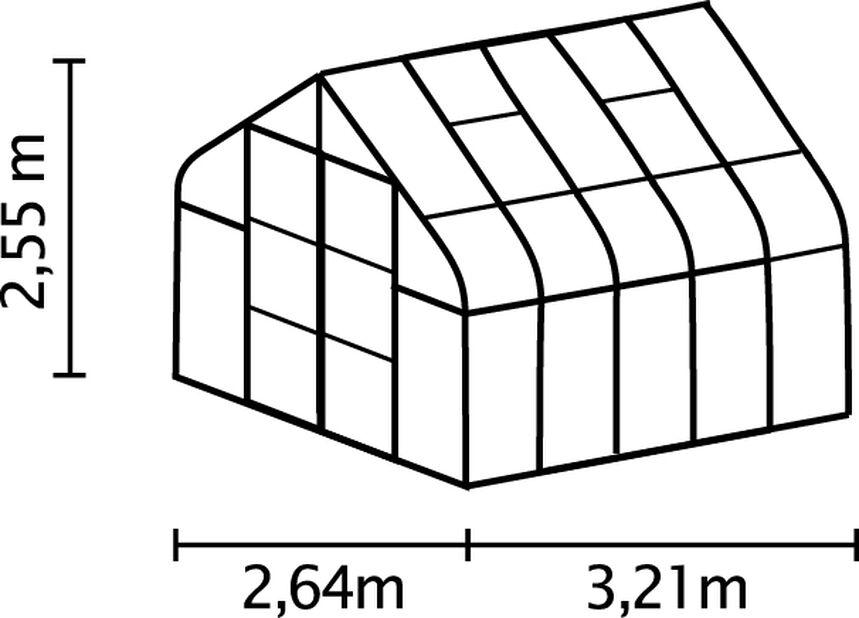 Drivhus Diana 8300, 8.3 m2, Grønn