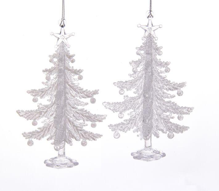 Juledekorasjon Juletrær, Høyde 10 cm, Hvit