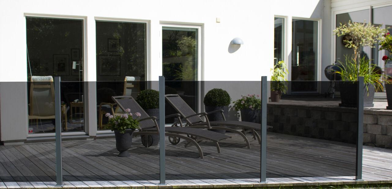 Glass till Terrasserekkverk, Grå