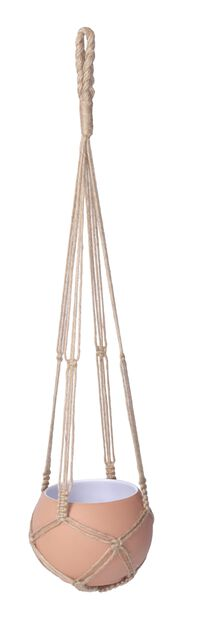 Ampel makramé i jute Eline, Lengde 90 cm, Brun