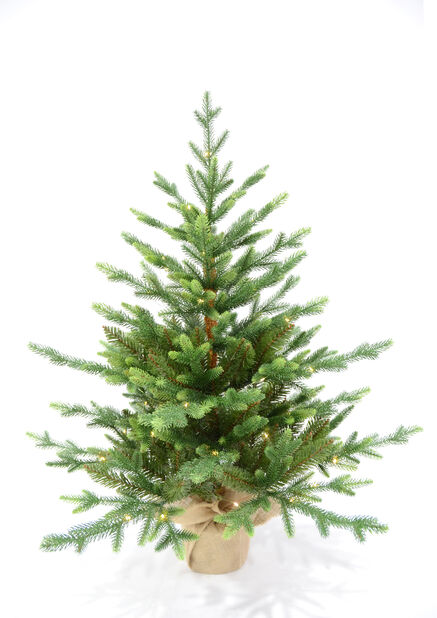 Kunstig juletre i potte med lys, Høyde 90 cm, Grønn