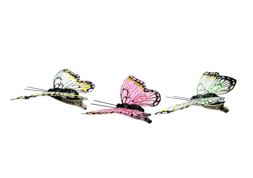 Dekorasjonsfjør med klype, Bredde 8 cm, Flere farger