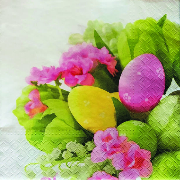 Servietter påskeegg og blomster, Bredde 33 cm, Flerfarget