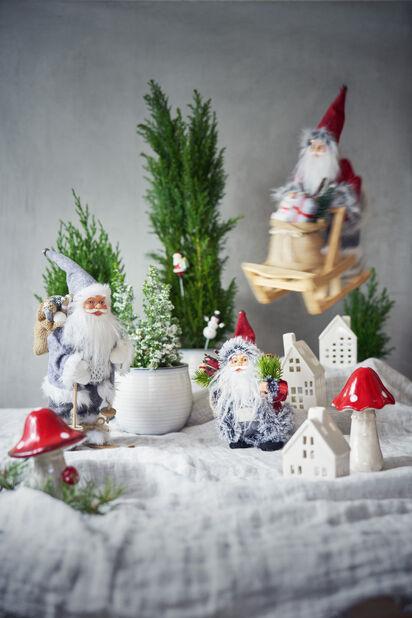 Julepynt sopp i keramikk, Høyde 12 cm, Rød