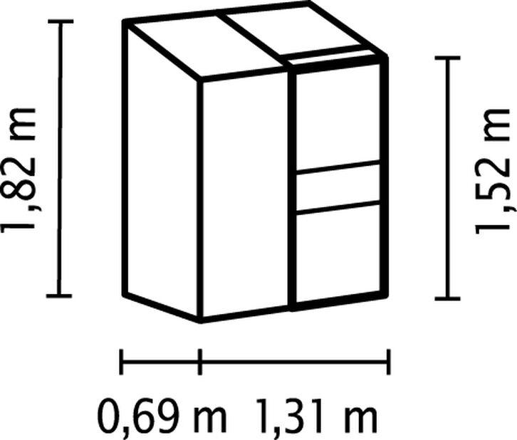 Drivhus Ida 900, Høyde 184 cm, Grå