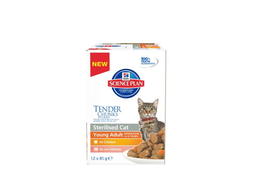Feline Adult Chunks In Gravy Sterilised 12 X 0,85 Gr, 1 kg, Hvit