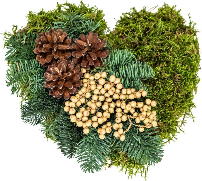 Gravdekorasjon mosehjerte, Ø25 cm, Grønn