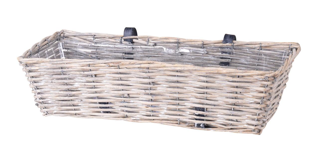Balkongkasse m. oppheng L61 cm, pil grå