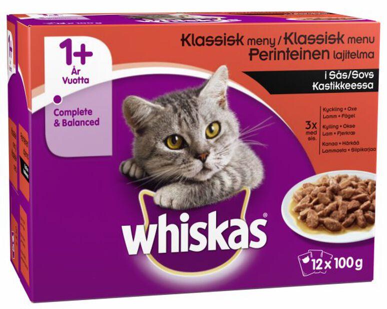 Whiskas 1+ Fiskemeny i saus, 100 g, Flerfarget