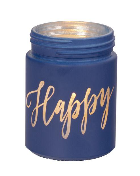 Duftlys Happy, Høyde 8 cm, Blå