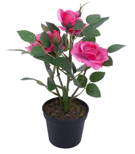 Minirose kunstig, Høyde 20 cm, Rosa