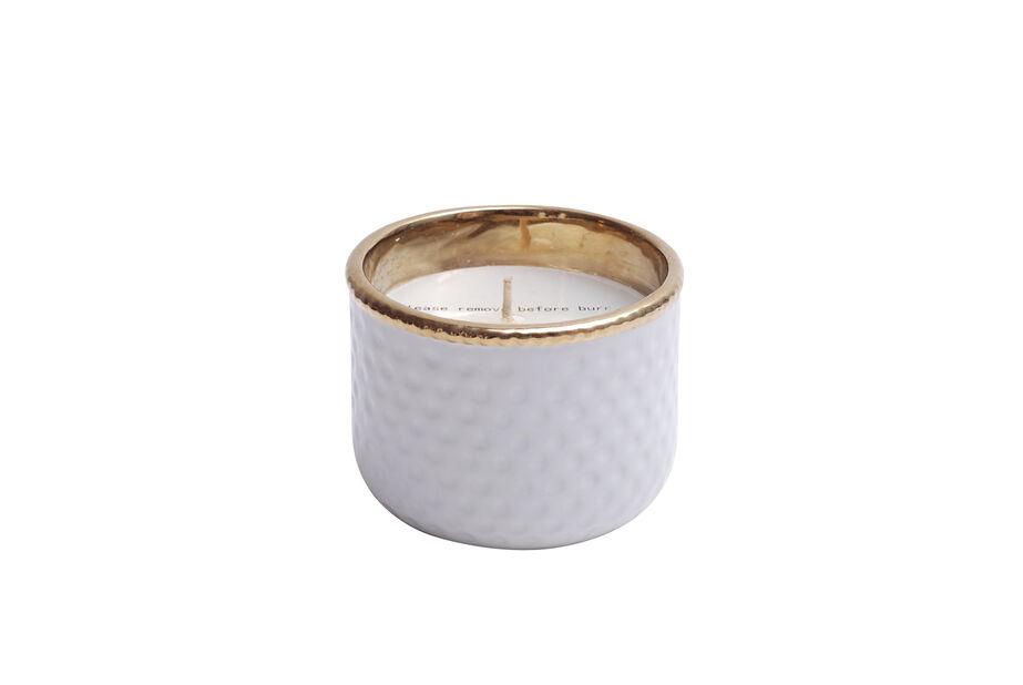 Duftlys i keramikkrukke, Høyde 7 cm, Hvit