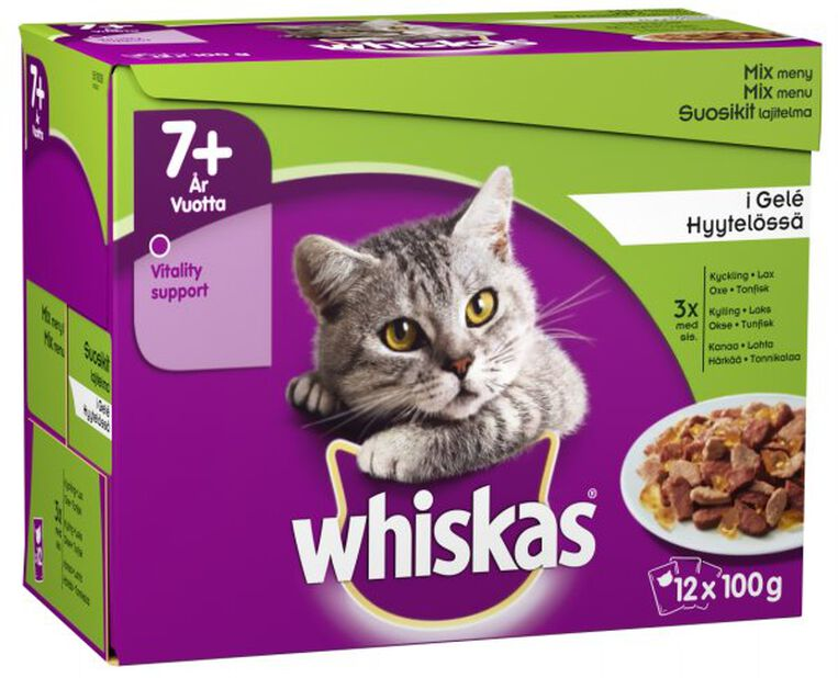 Whiskas 1+ Fisk & kjøttmeny i gele, 1.2 kg, Flerfarget