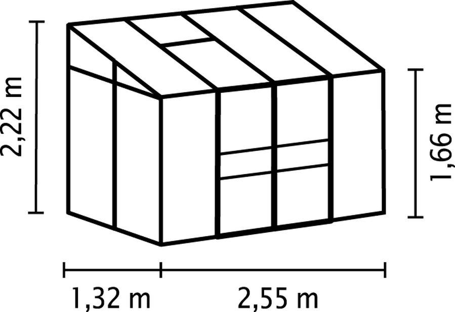 Drivhus Ida 3300, 3.3 m2, Grå