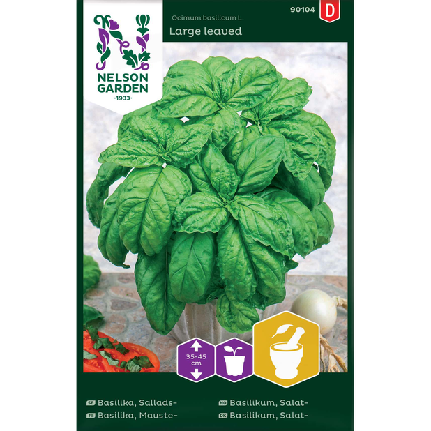 Salatbasilikum Large leaved, Flerfarget