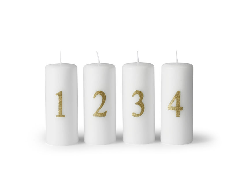 Adventslys , Høyde 12 cm, Hvit