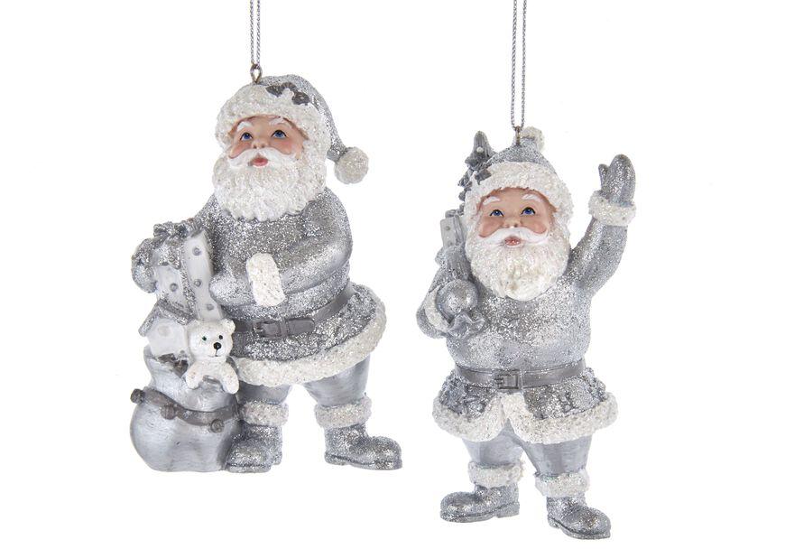 Juletrepynt grå julenisser, Høyde 10 cm, Hvit
