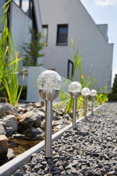 Solcelledrevet lysarmatur Conga, Høyde 39 cm, Sølv