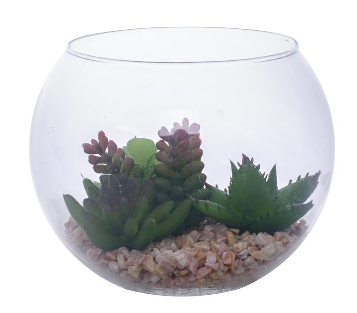 Sukkulent kunstig i glass, Høyde 13 cm, Grønn