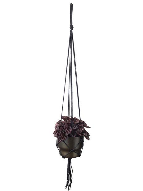 Makraméampel, Lengde 80 cm, Svart