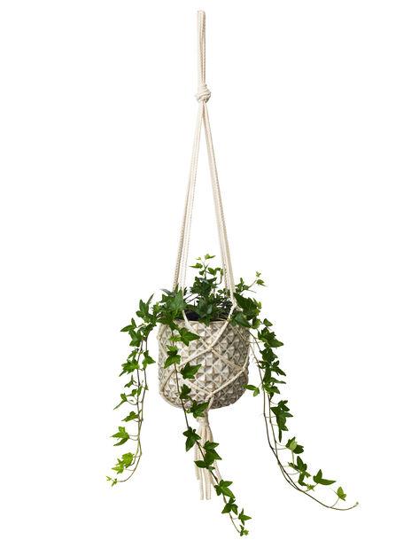Makraméampel, Lengde 80 cm, Hvit
