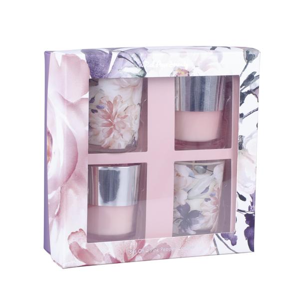 Duftlys i gaveeske, Høyde 18 cm, Rosa