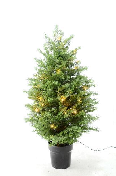 Kunstig juniperus med lys, Høyde 90 cm, Grønn