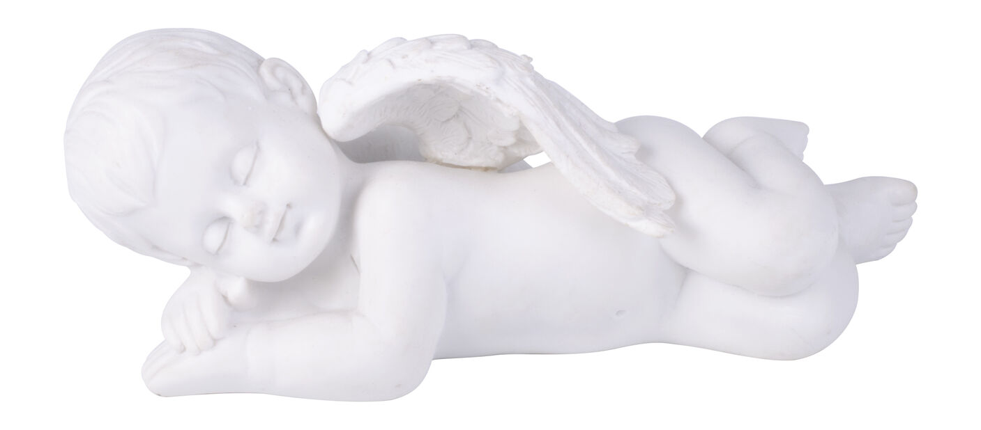 Liggende engel, Lengde 15 cm, Hvit