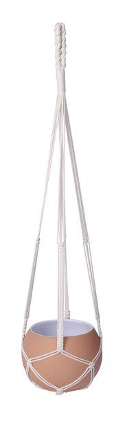 Ampel makramé Eline, Lengde 90 cm, Hvit