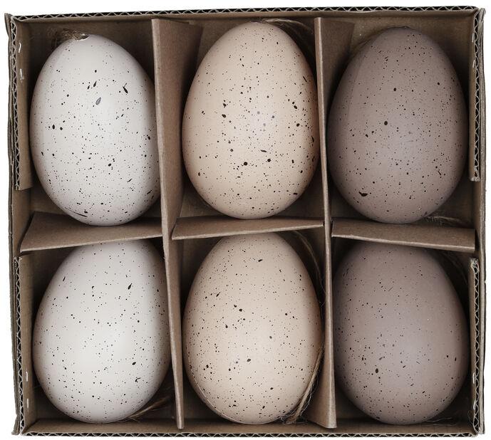 Påskepynt egg til å henge i ris, Høyde 6 cm, Flerfarget