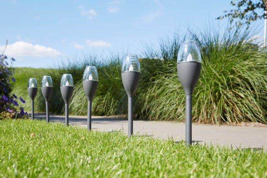 Solcelledrevet lysarmatur Jive, Høyde 29 cm, Grå