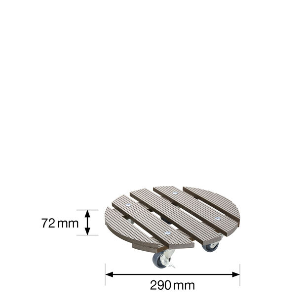 Potteunderlag med hjul Multi Roller, Ø29 cm, Brun