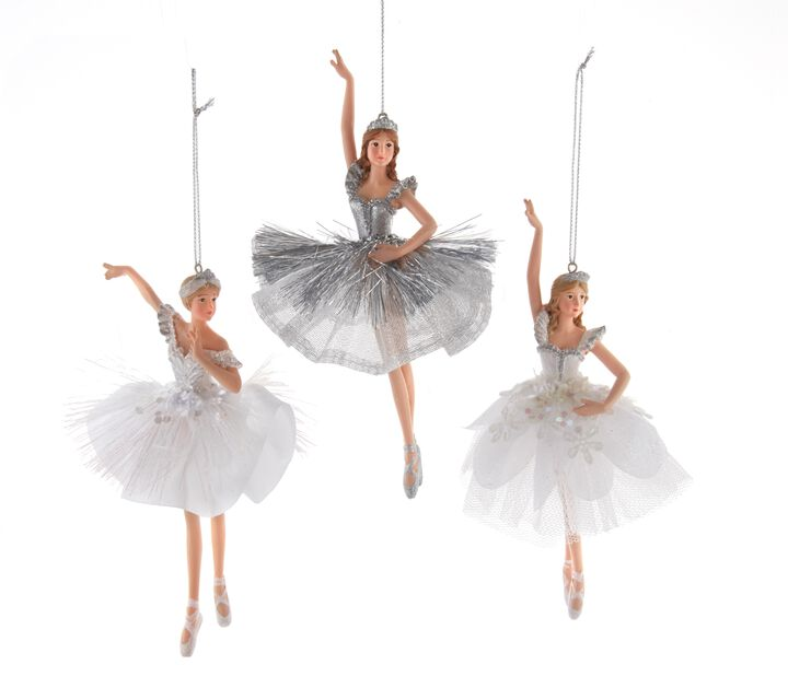 Juletrepynt Ballerinaer, Høyde 13 cm, Hvit