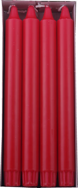 Kronelys 8 pk, Lengde 24 cm, Rød