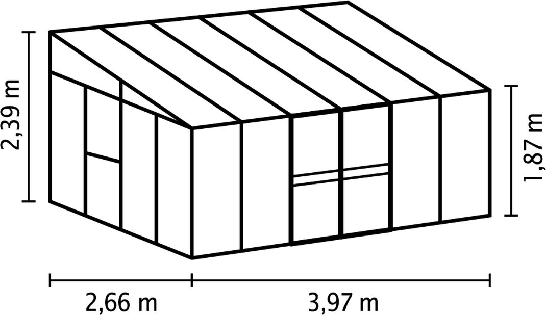 Drivhus Helena, 10.2 m2, Grå