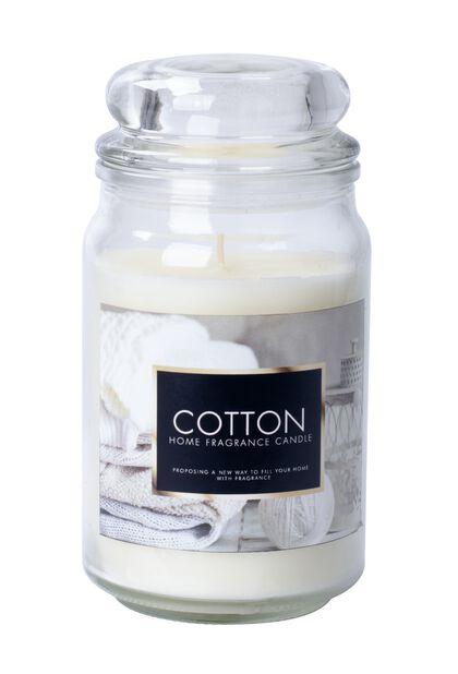 Duftlys Fresh cotton, Høyde 18 cm, Hvit