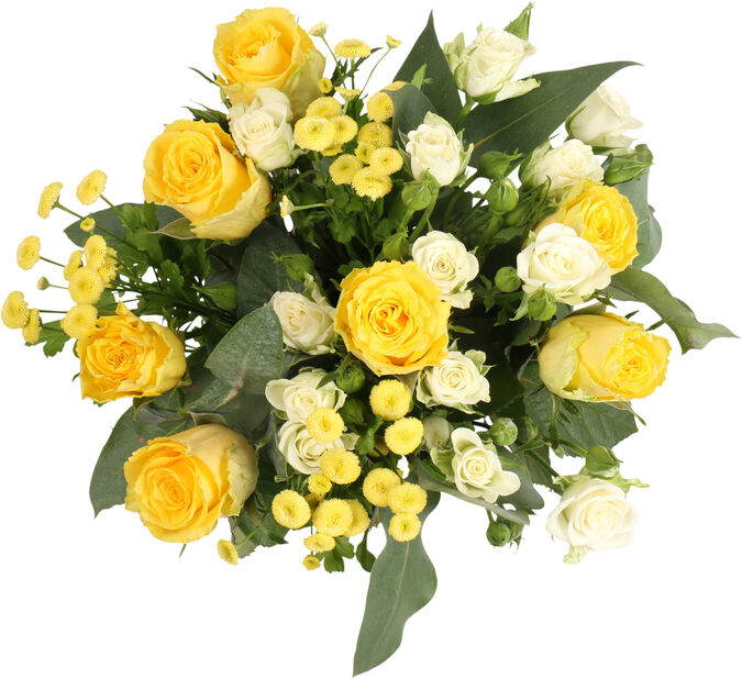 Bukett Yellow Roses 1, Høyde 45 cm, Gul
