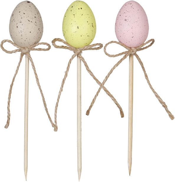 Påskepynt blomsterpinne egg, Lengde 14 cm, Flere farger
