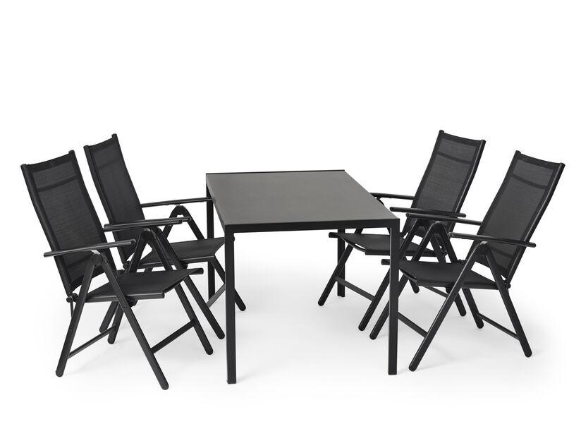 Spisegruppe Mora/Blackstone 1+4, Lengde 140 cm, Svart