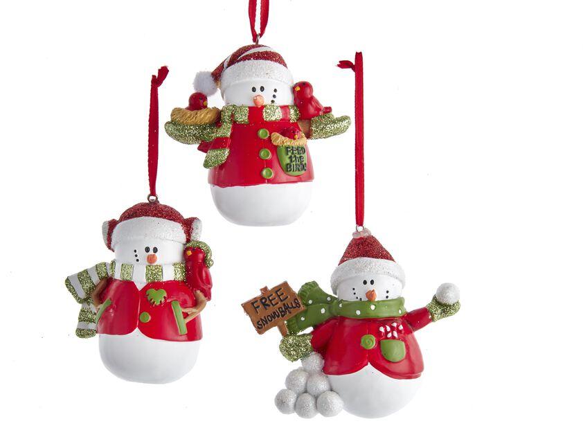 Juletrepynt snømenn, Høyde 10 cm, Flerfarget