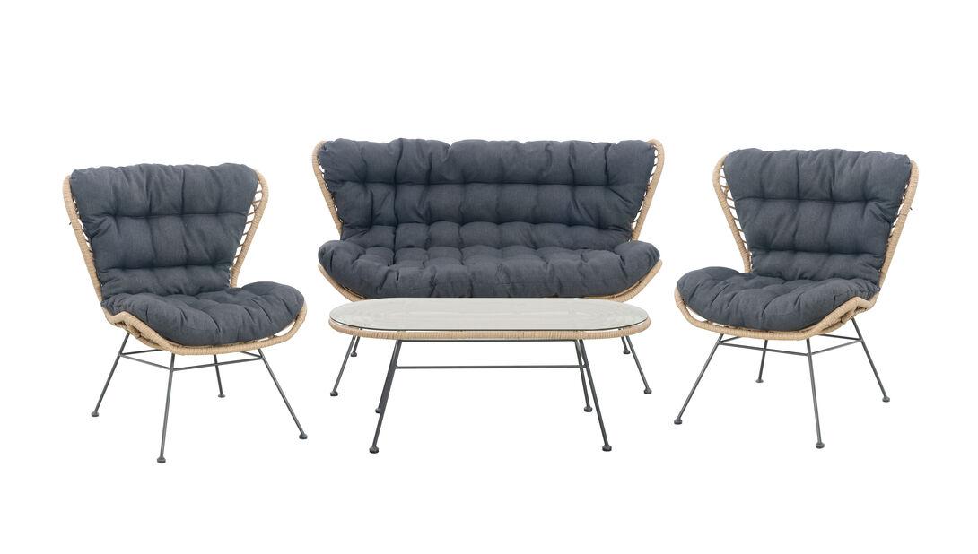 Sofagruppe Melbourne, 4 sitteplatser, Tre
