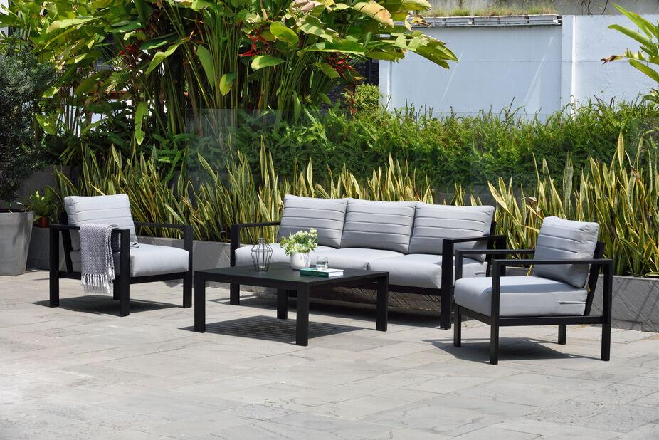Sofagruppe Port Royal, 5 sitteplatser, Svart