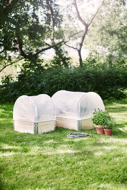 Fiberduk plantekasse, Lengde 120 cm, Hvit