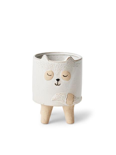 Minipotte katt Lovi, Ø8 cm, Hvit