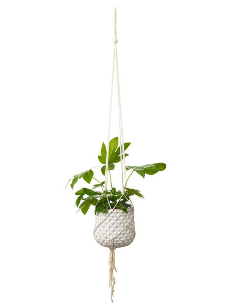 Makraméampel H 110 cm, hvit