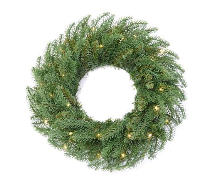 Krans med LED-belysning, Ø50 cm, Grønn