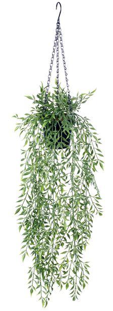 Bambus i ampel kunstig, Høyde 72 cm, Grønn