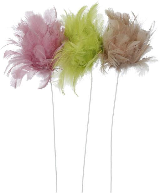 Påskepynt blomsterpinne fjær, Lengde 30 cm, Flere farger